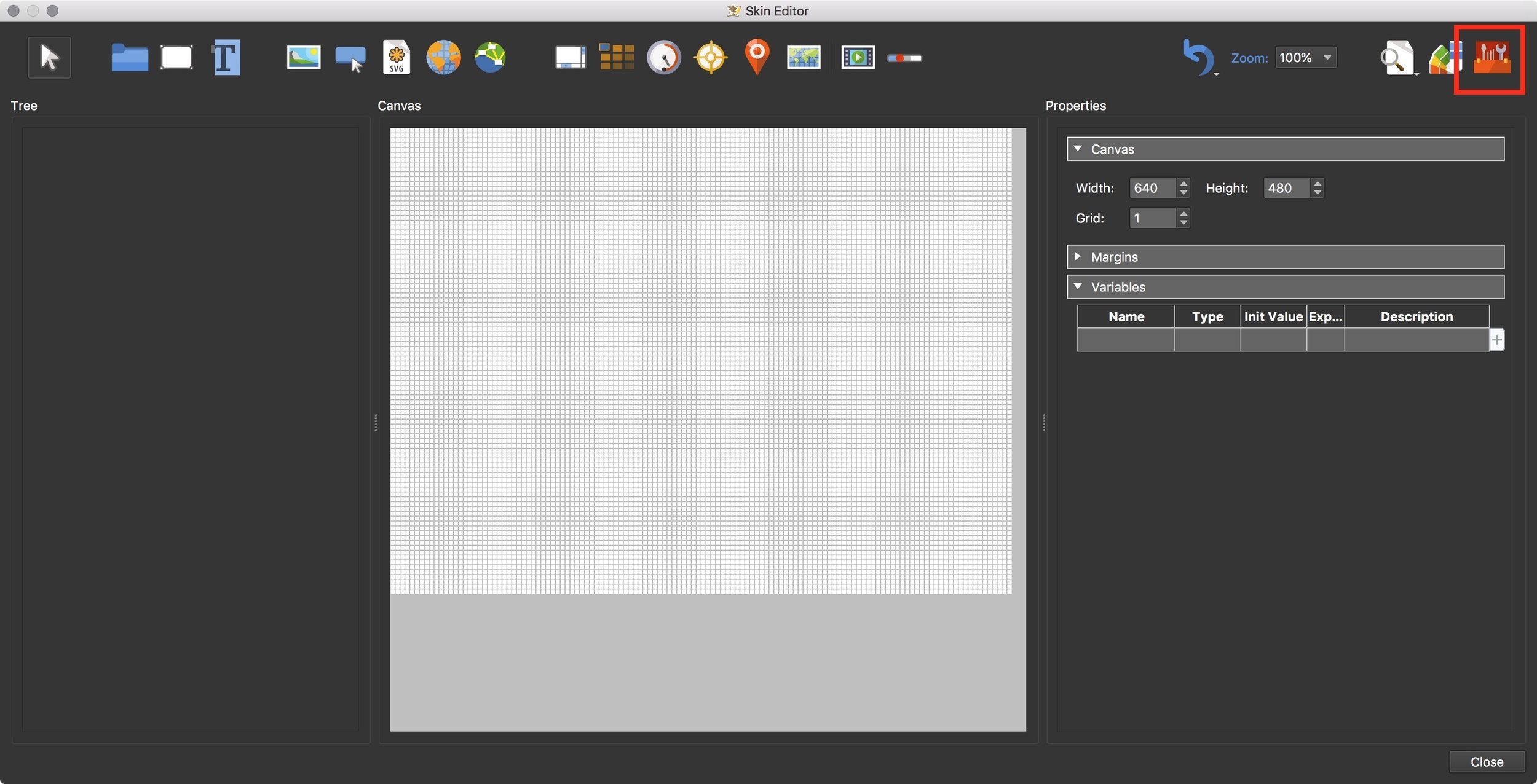 Figure #8: Skin Editor and Components Toolbox button