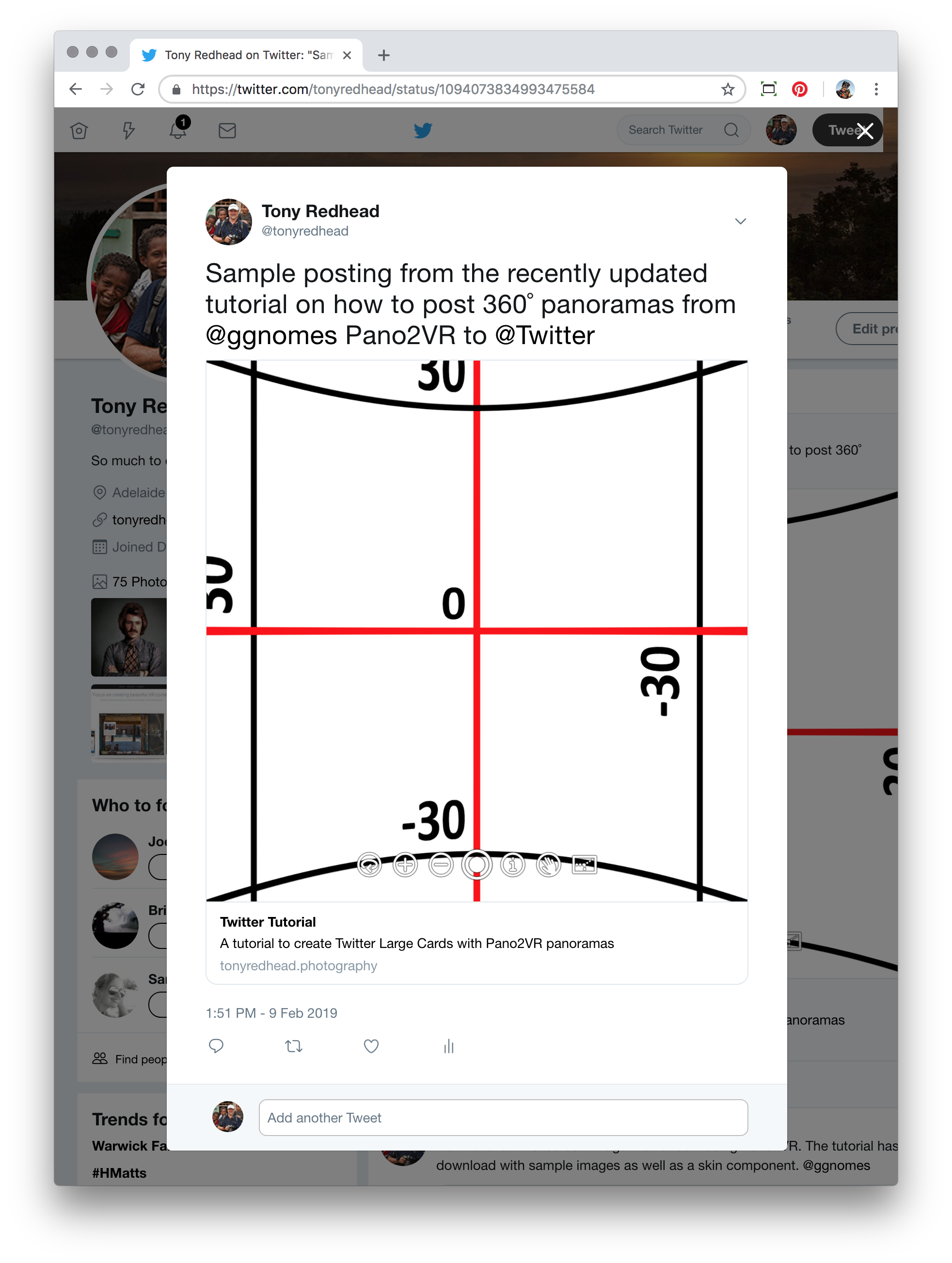 Expanded tweet showing the 360˚ panorama   https://twitter.com/tonyredhead/status/1094073834993475584