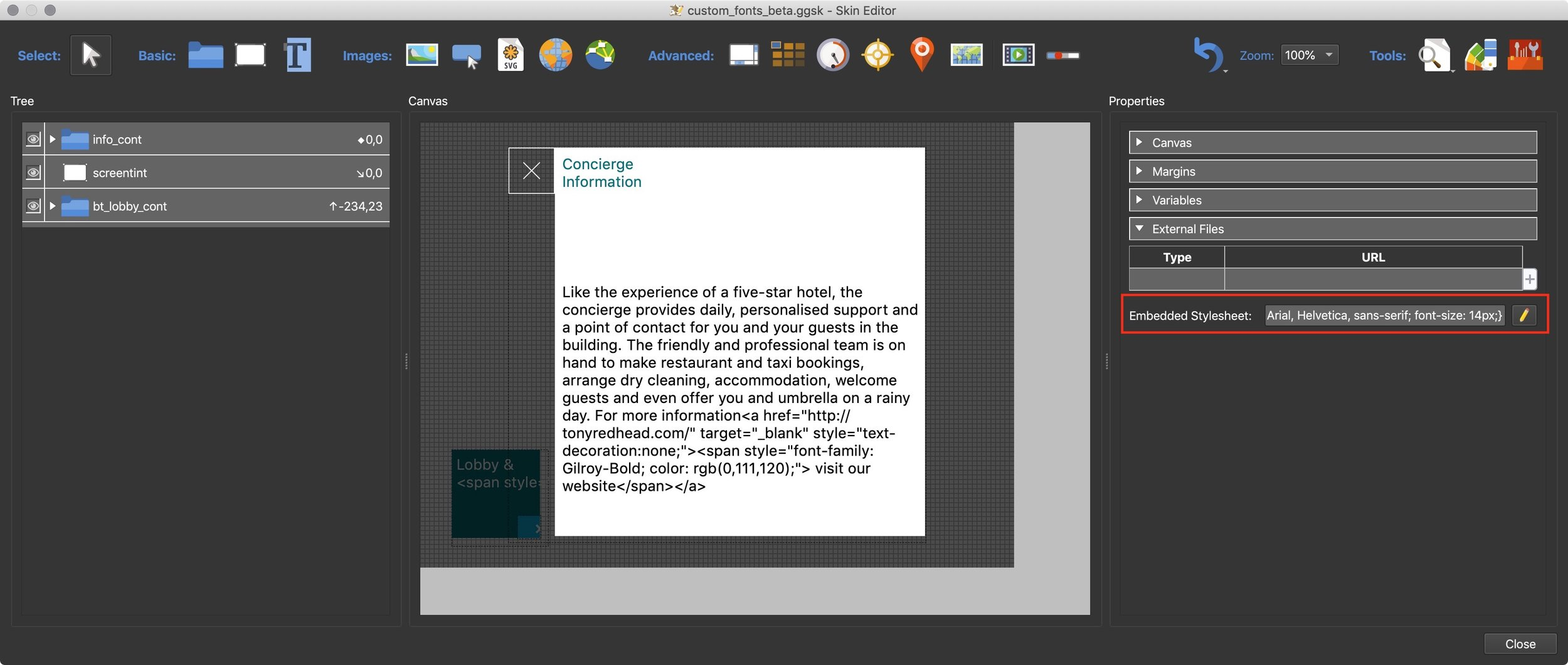 Figure #2: Skin with Canvas Properties, Embedded Stylesheet element