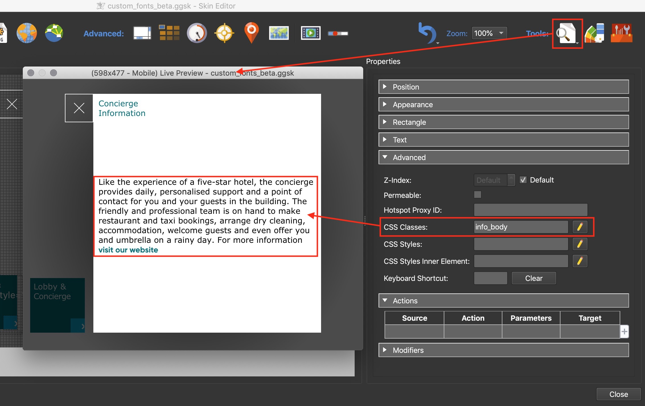 Figure #3: Live Preview showing unstyled text areas