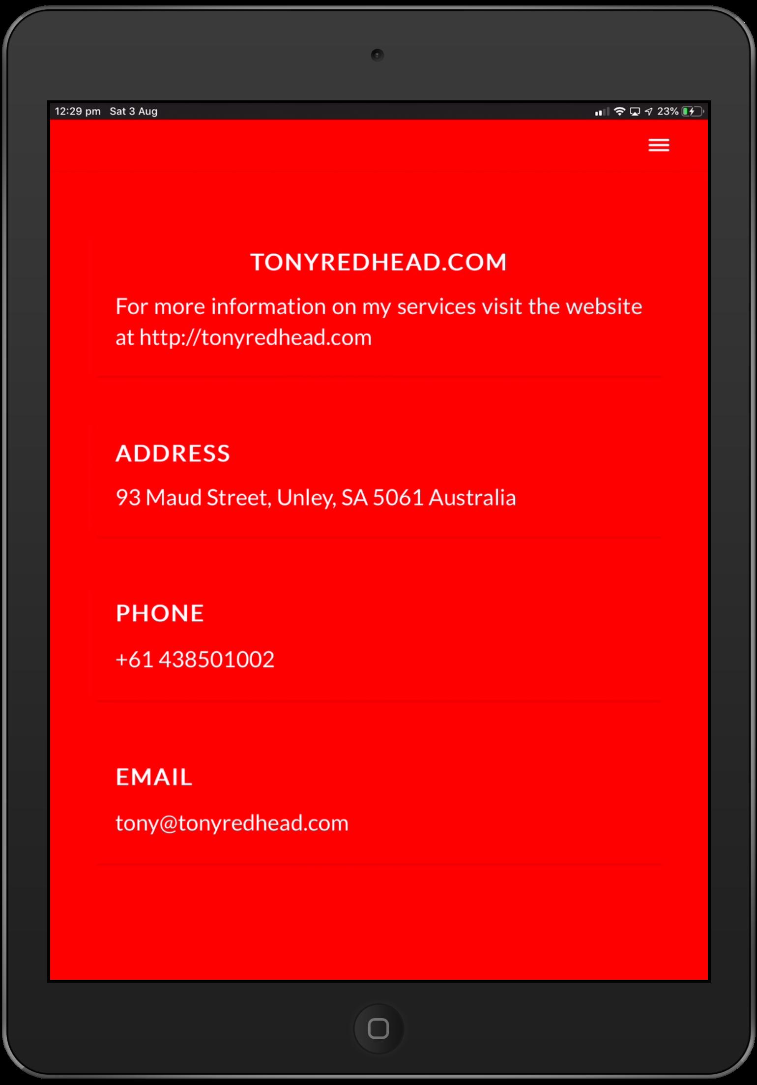 iPad Contact Screen - Style 1