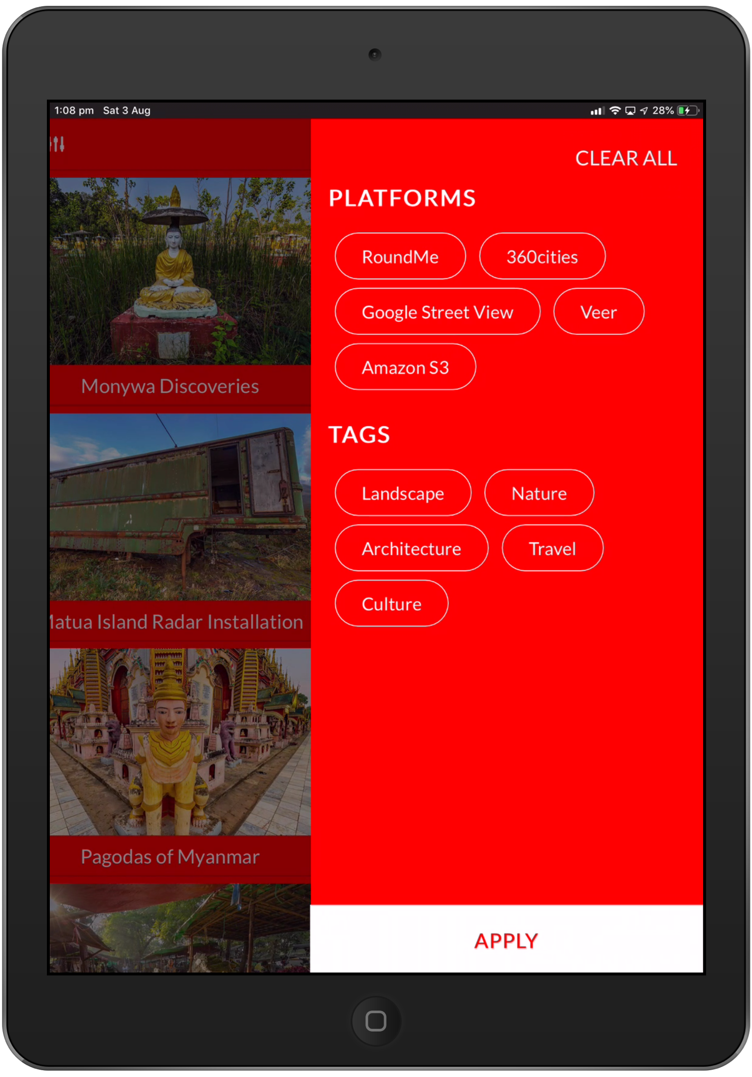 Platform and Tag Filter window