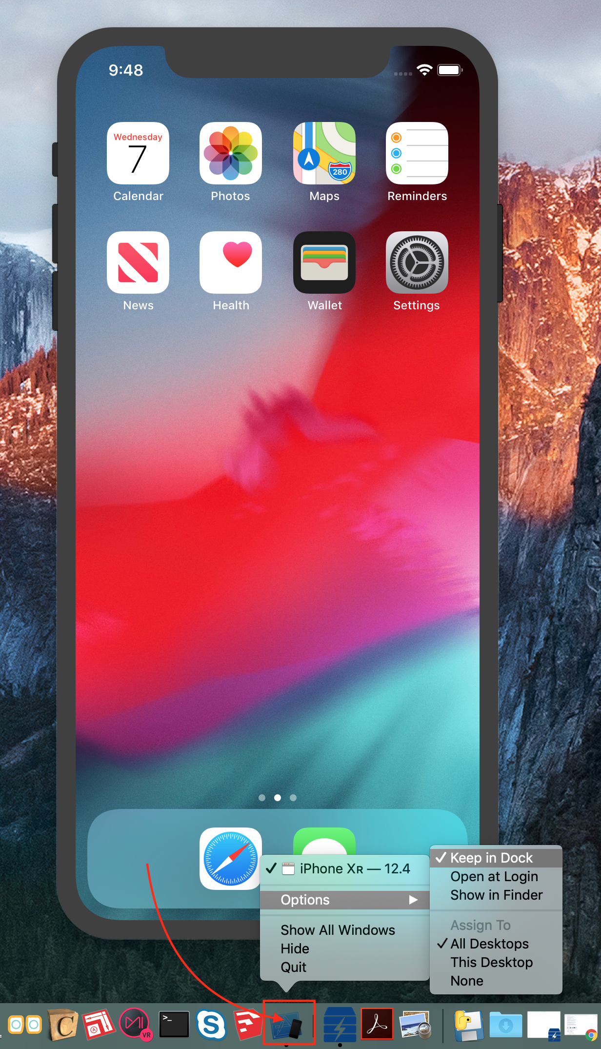 Figure #3: iPhone Simulator with dock icon