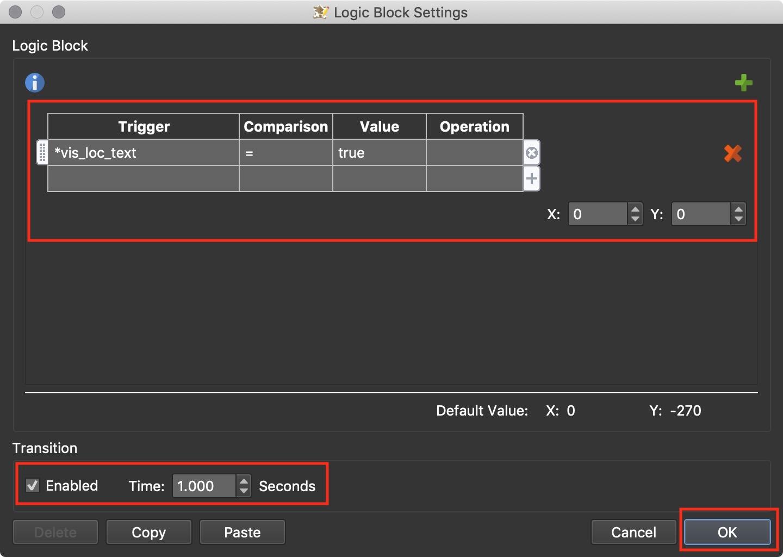 Figure #11: Set the logic block to position the room-description-textbox