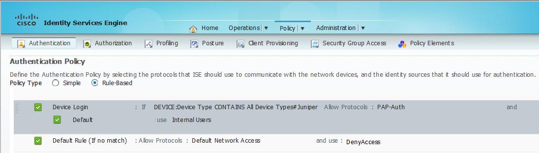Use Cisco ISE for RADIUS Authentication with Juniper Junos