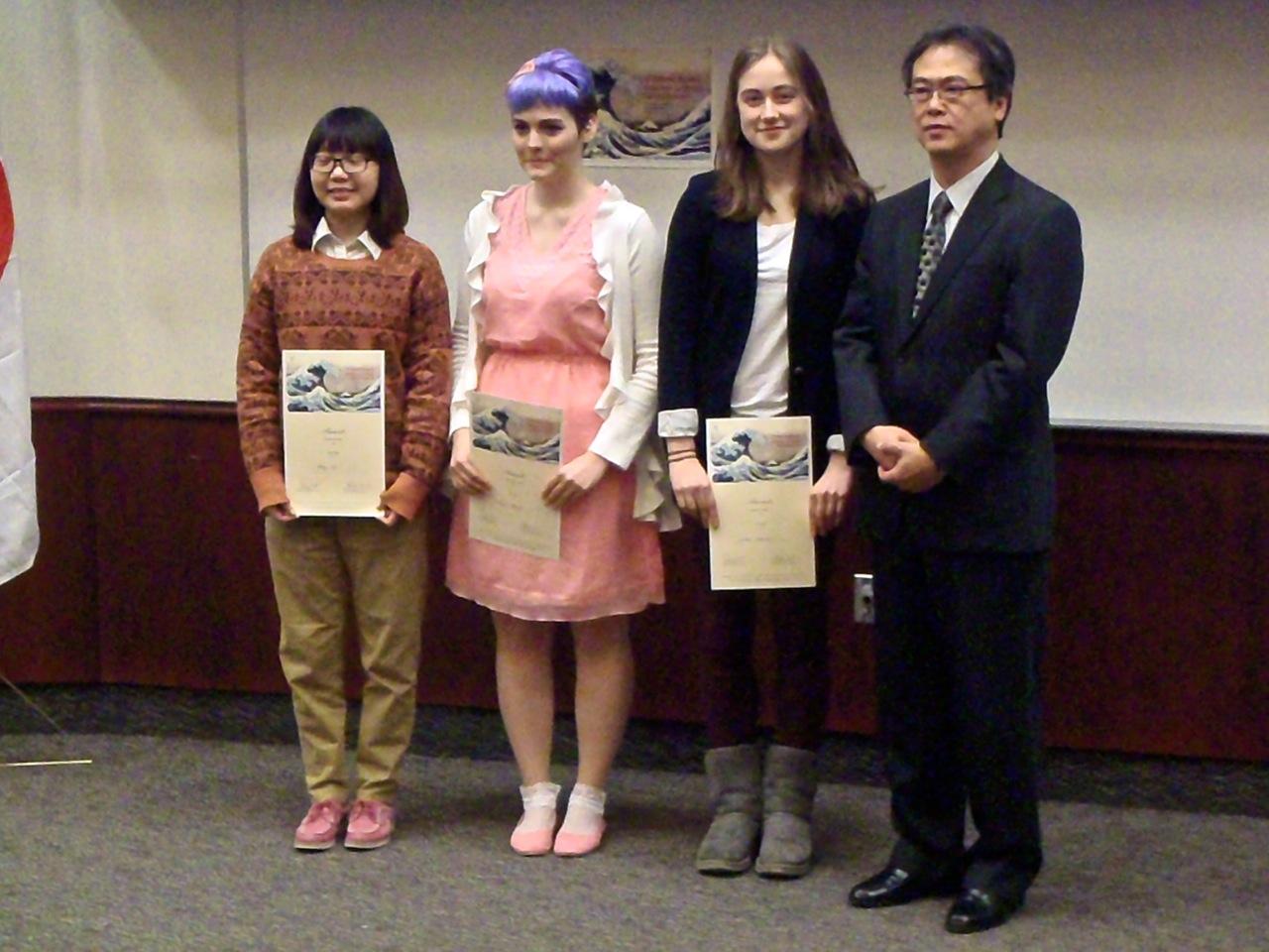 Speech contest winners with Consul General Tatsuo Arai.