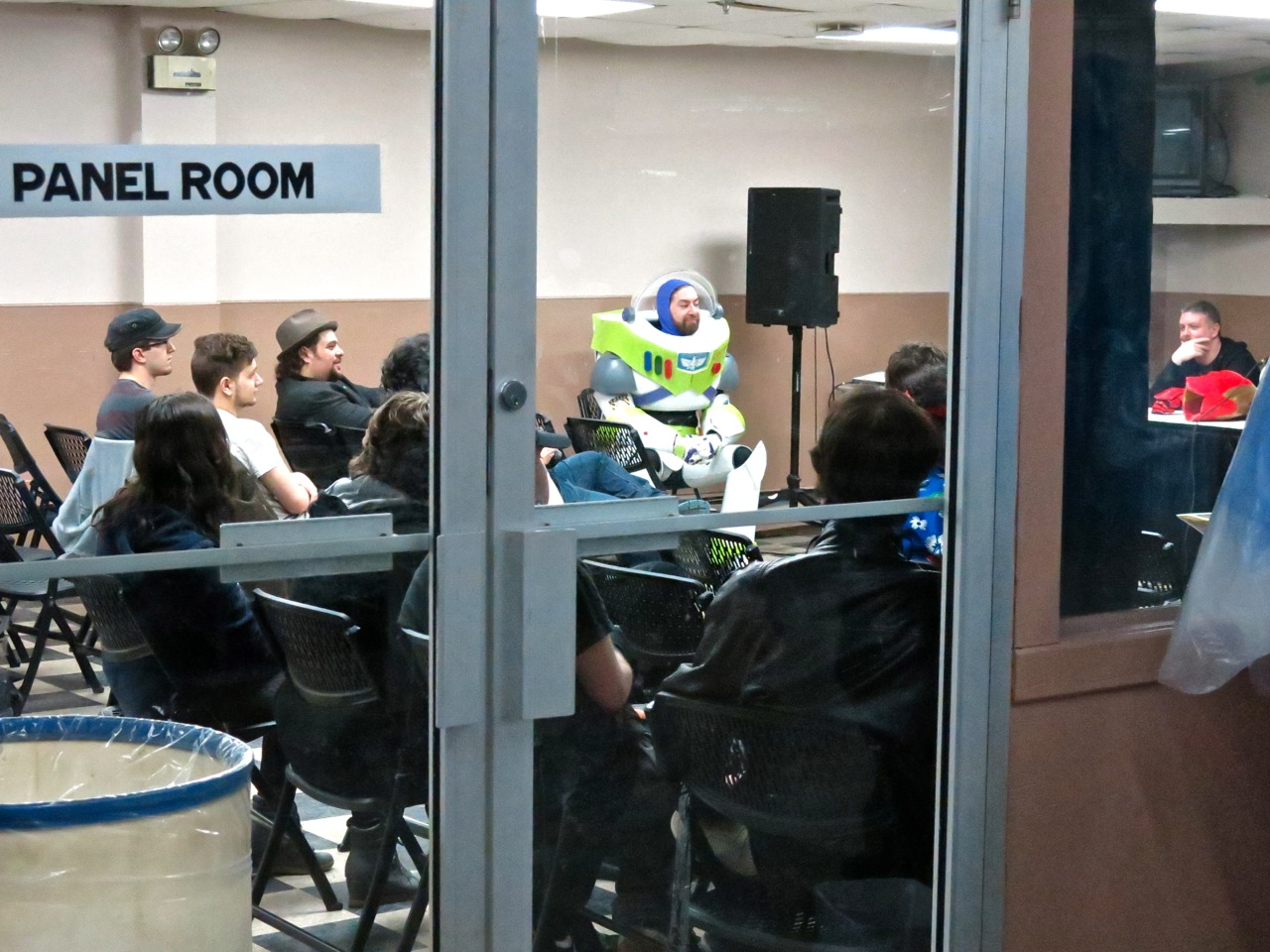 Buzz Lightyear looking all serious in a meeting. :-D