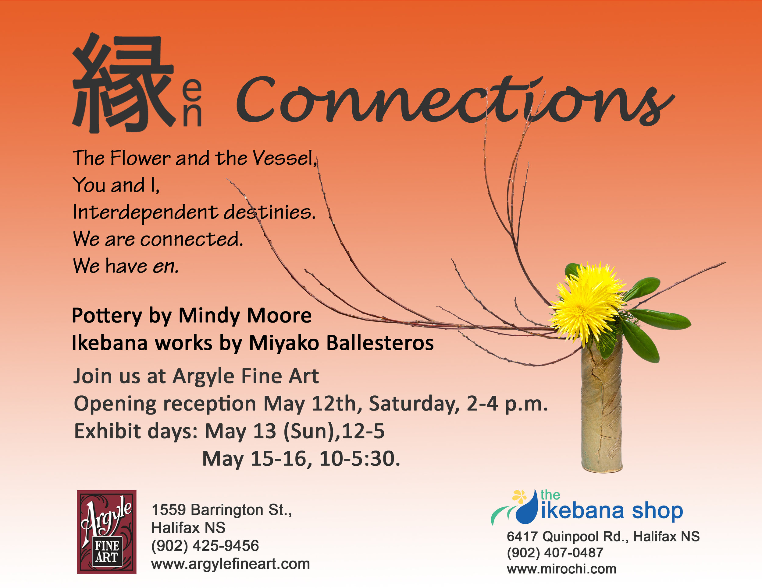 """En"" 縁 with ceramic artist, Mindy Moore. May, 2012 at Argyle Fine Art."