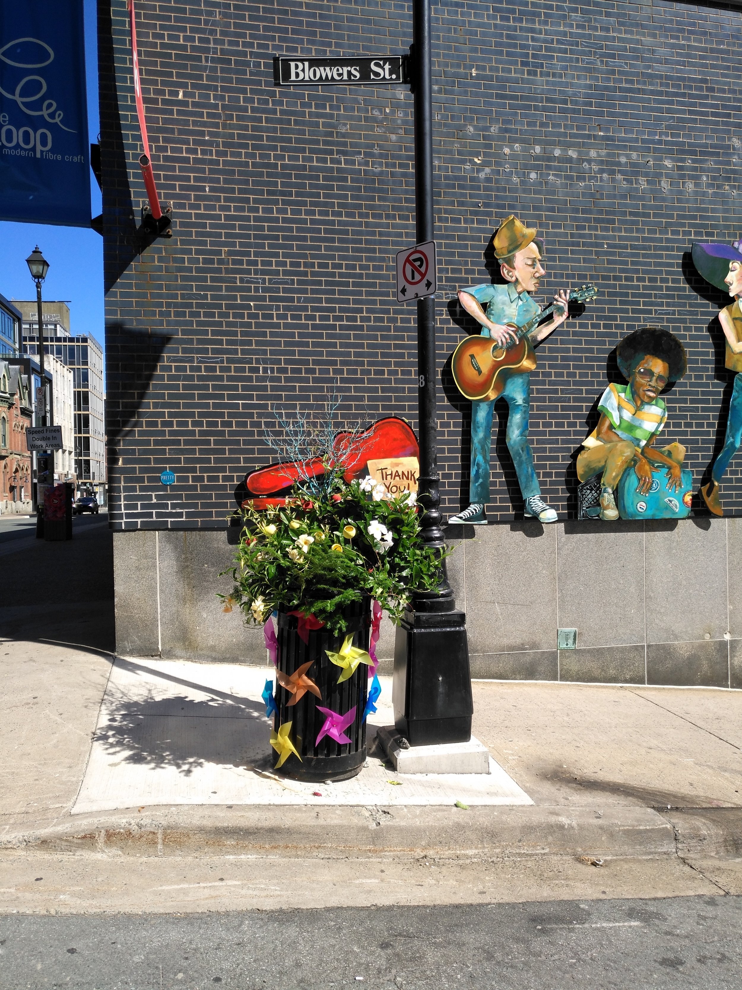 The Barrington Street Bouquet. July, 2017 at the corner of Barrington and Blower Streets, Halifax.