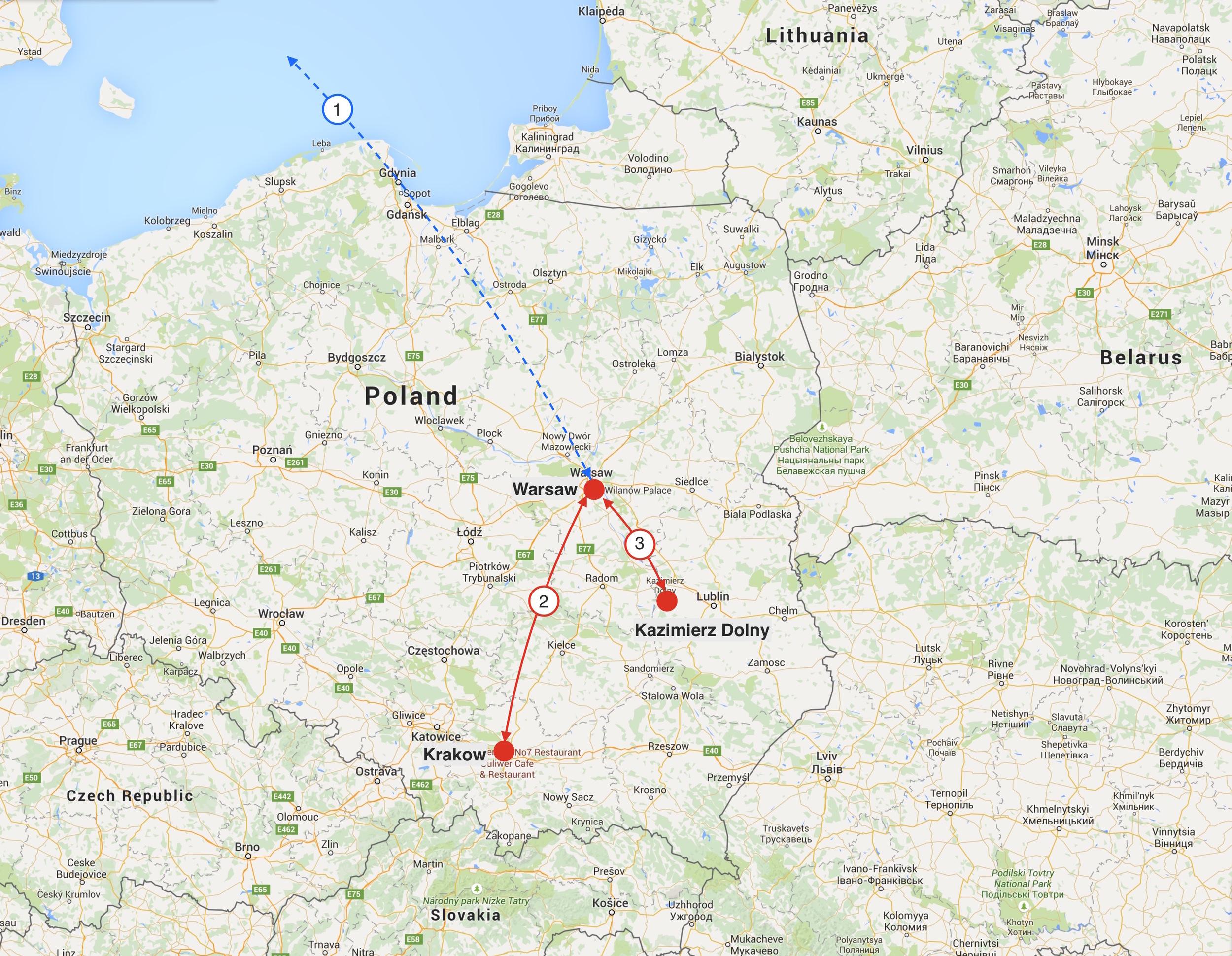 1: Flight path between Toronto and Warsaw 2: Train between Warsaw and Krakow 3: Bus between Kazimierz Dolny and Warsaw