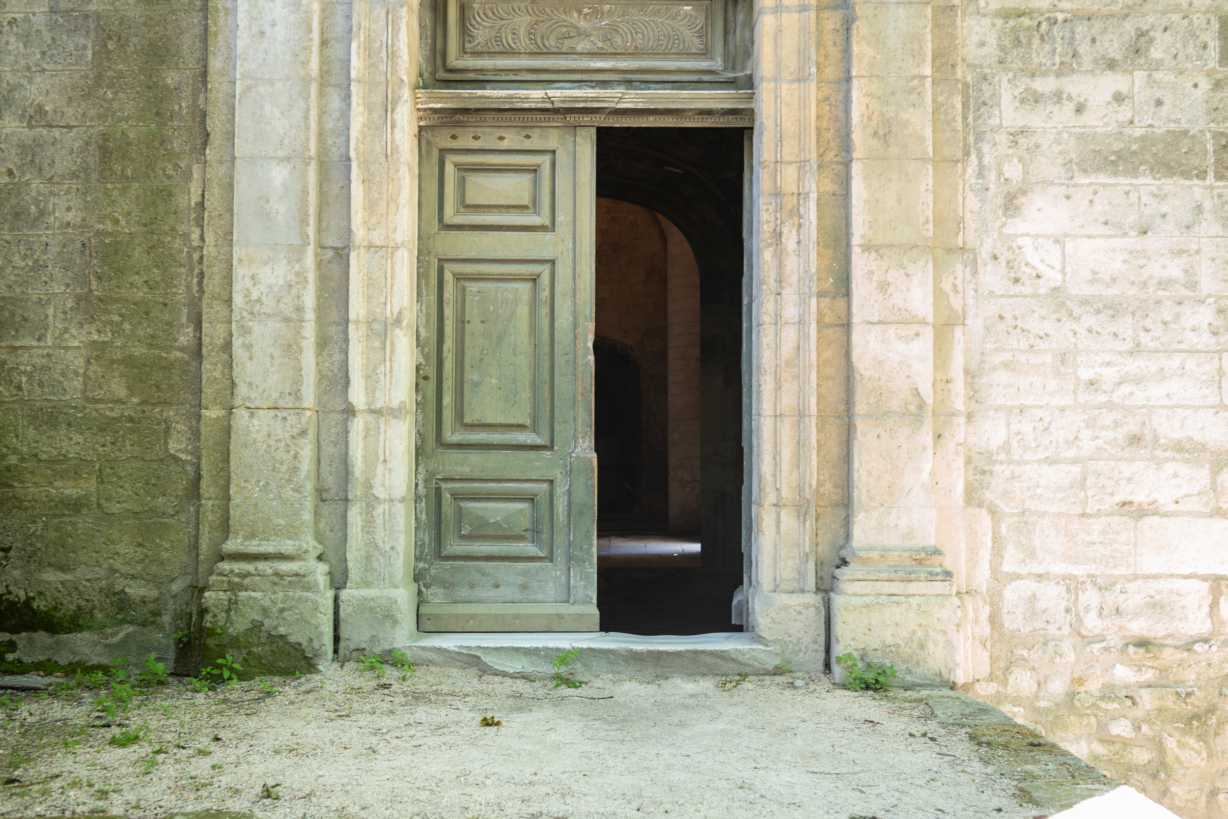 Église Saint Honora, Alyscamps, Arles, France The open door invites us into this church located in the ancient Roman cemetery.