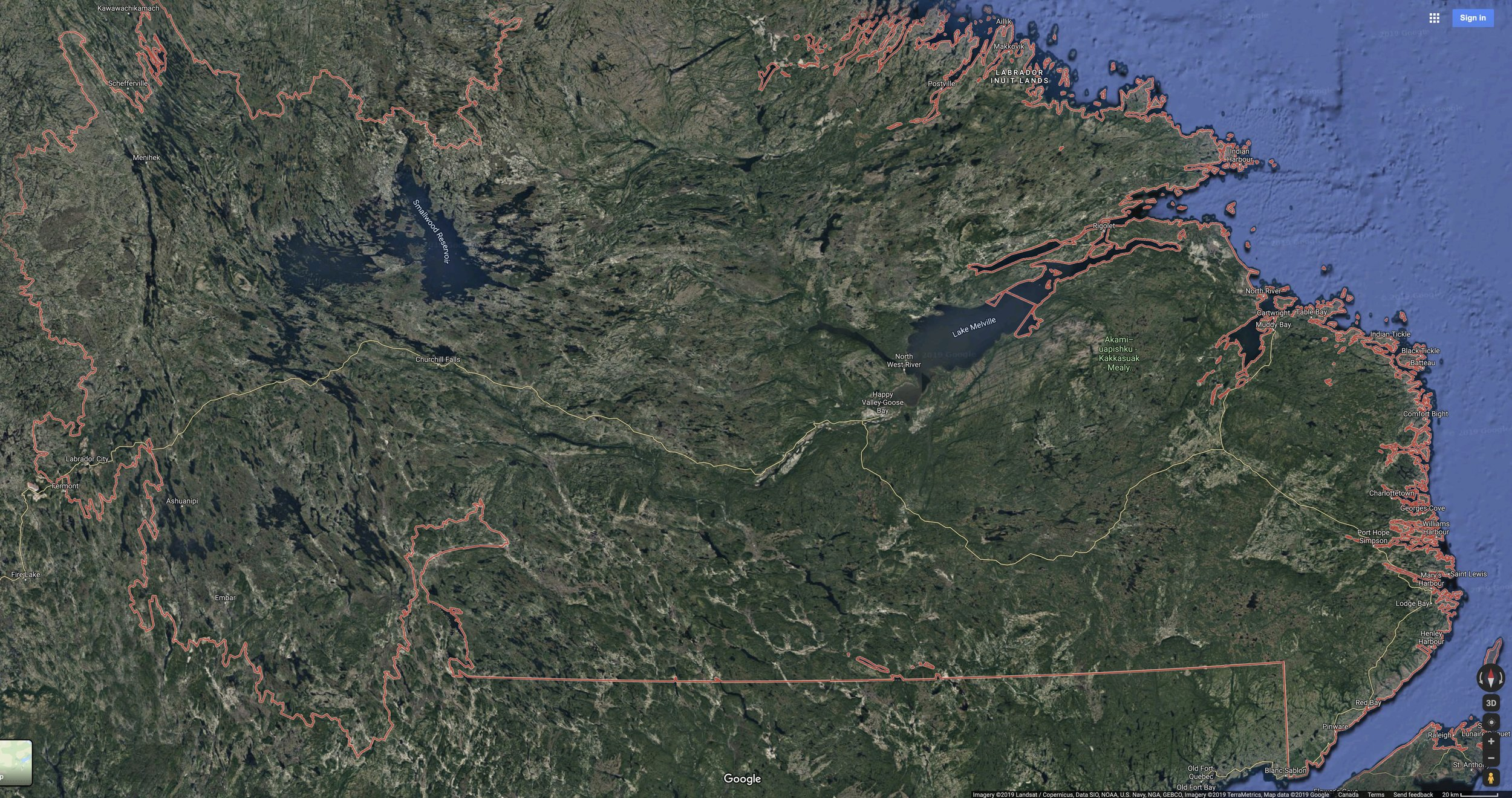 Satellite image of southern Labrador