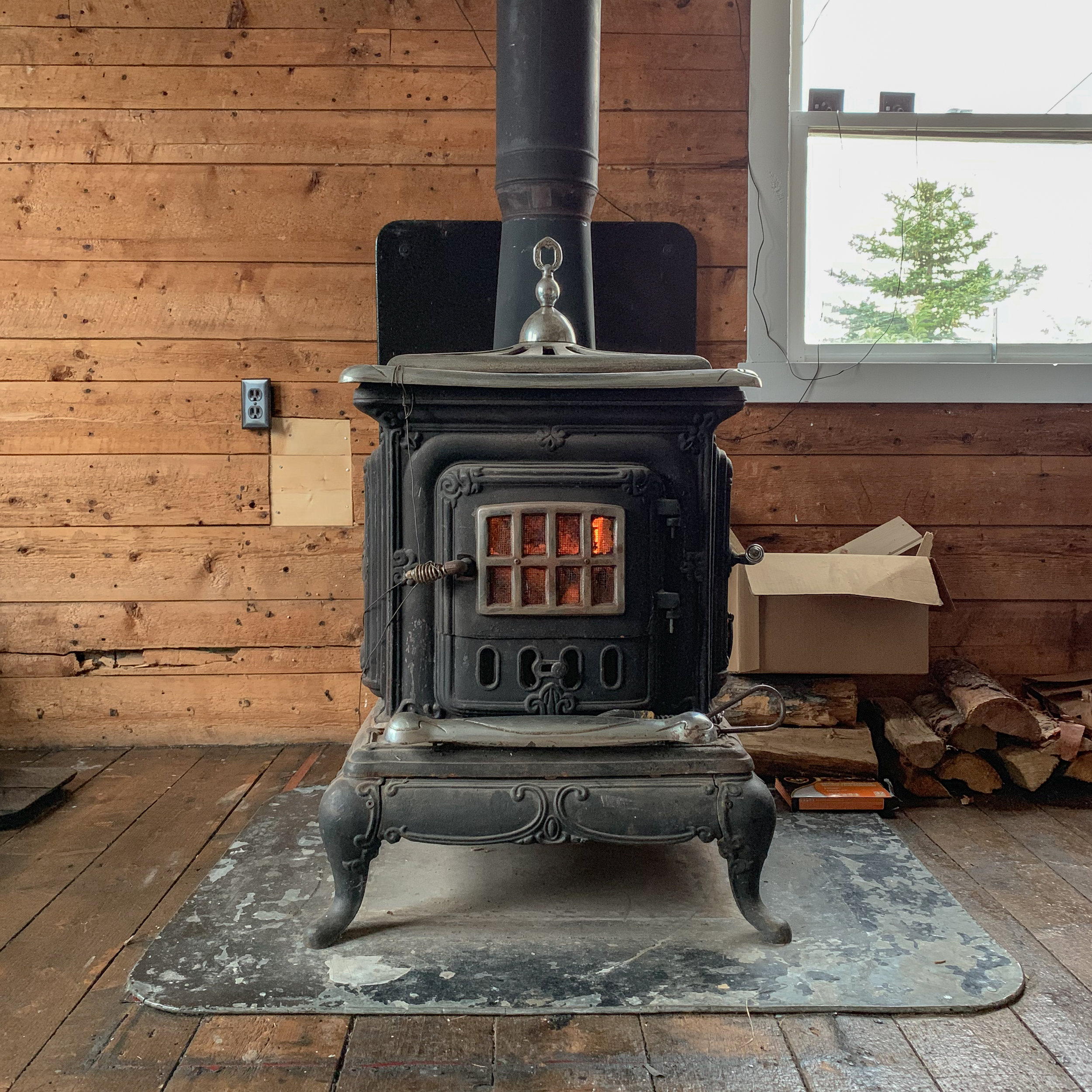 Cast iron wood-burning stove in Living Room.