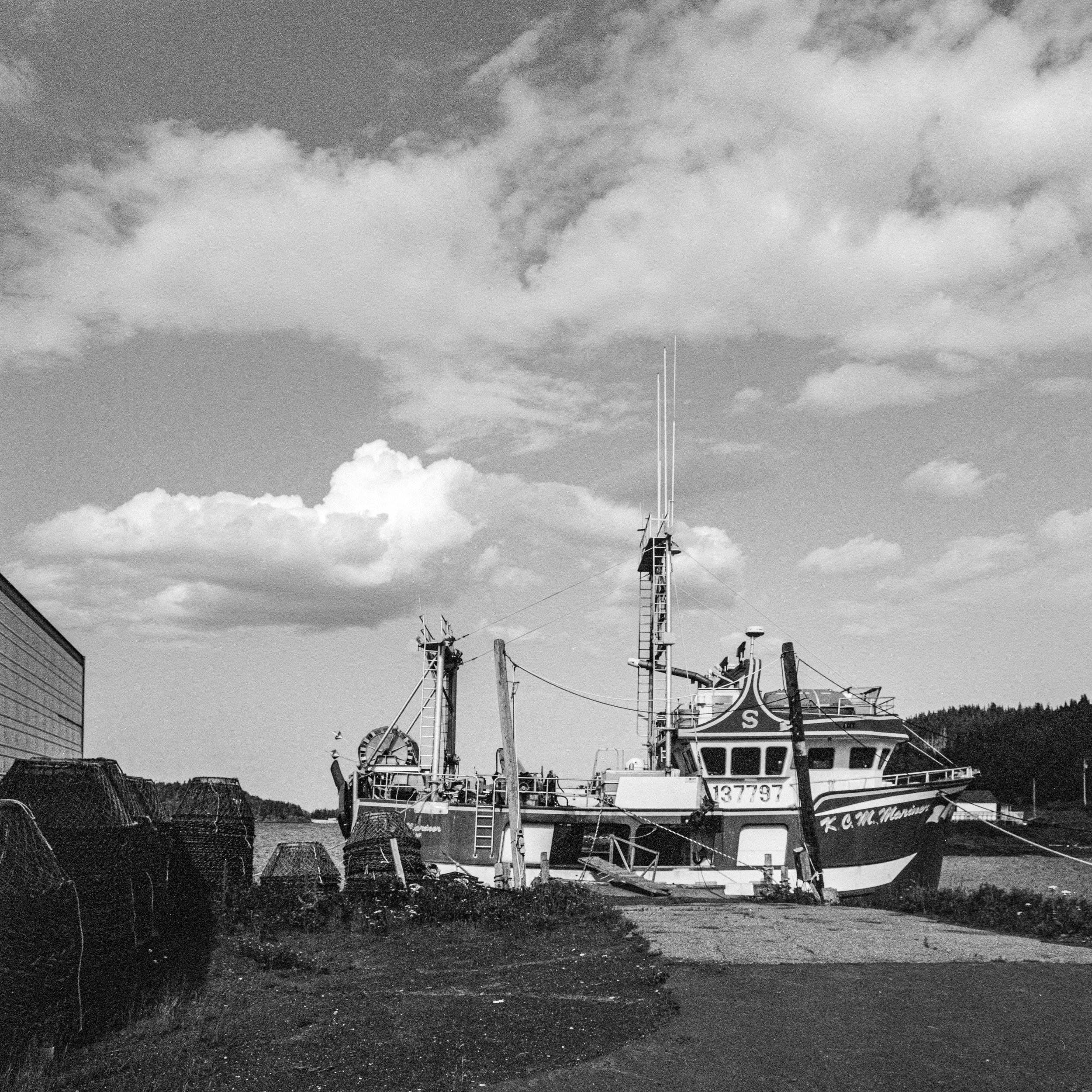 Fishing boat docked in Cobbs Arm, Newfoundland.