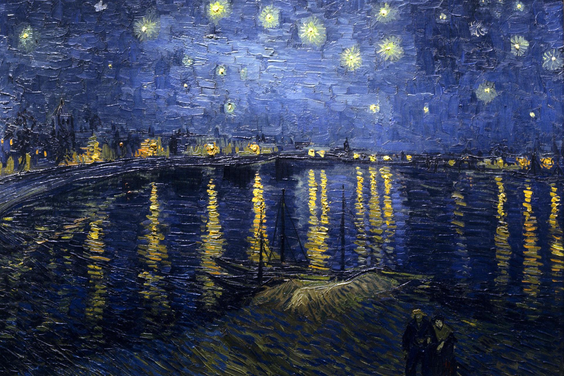 Original Van Gogh painting, Starry Night Over the Rhone