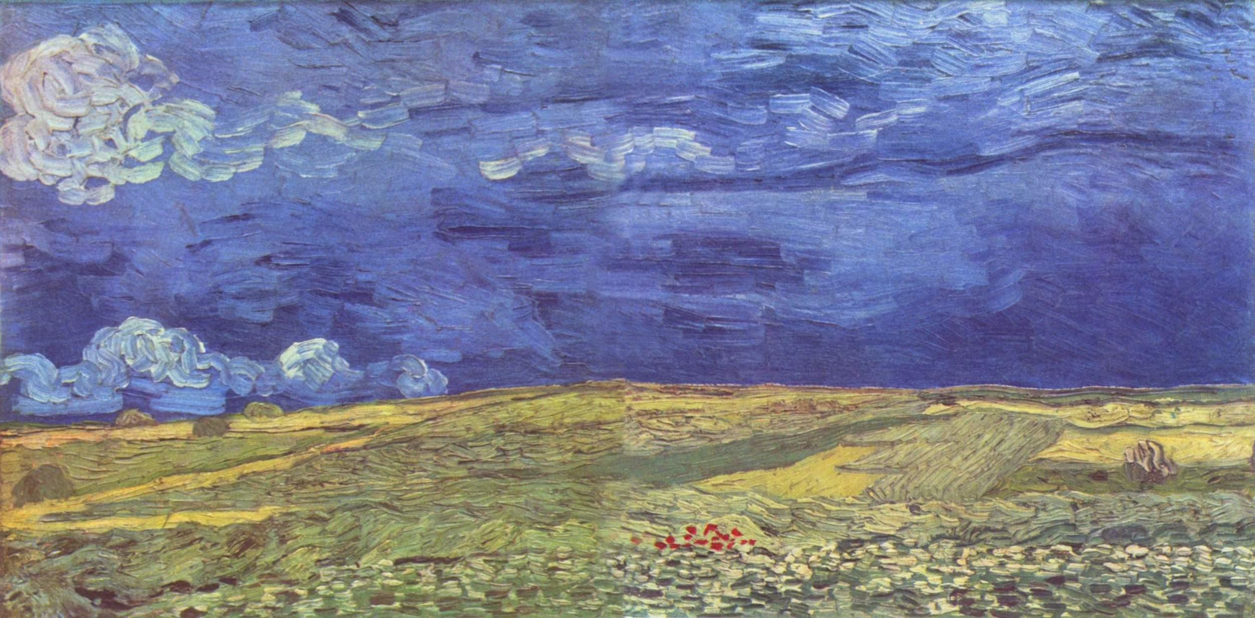 Original Van Gogh painting, Wheat Field Under Clouded Skies