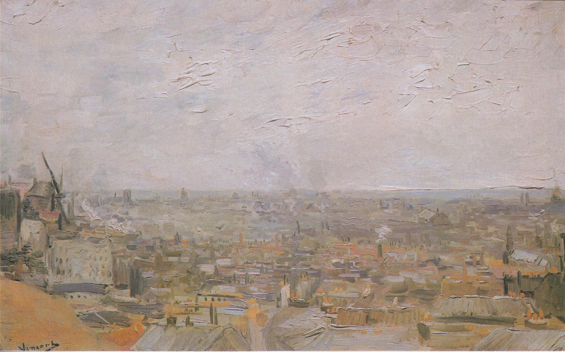 Original Van Gogh painting, View of Paris from Montmarte