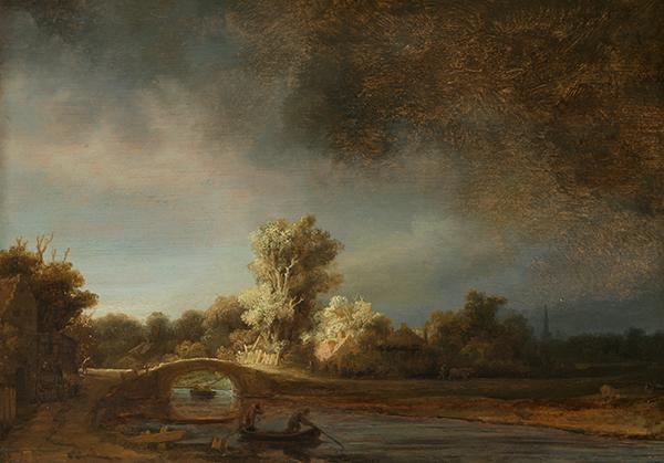 Original Rembrandt painting, The Stone Bridge
