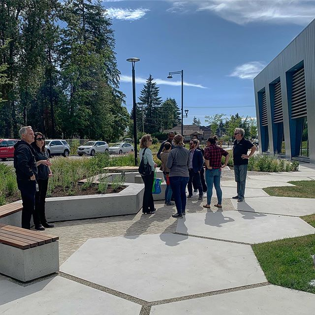 West Village Park and District Energy Centre opens today. The park is in the heart of a new community in Central Surrey next to City Hall.  The district energy centre provides heat to the surrounding apartments and civic buildings. The hexagon pattern in the parks paving represents the chemical structure of carbon.