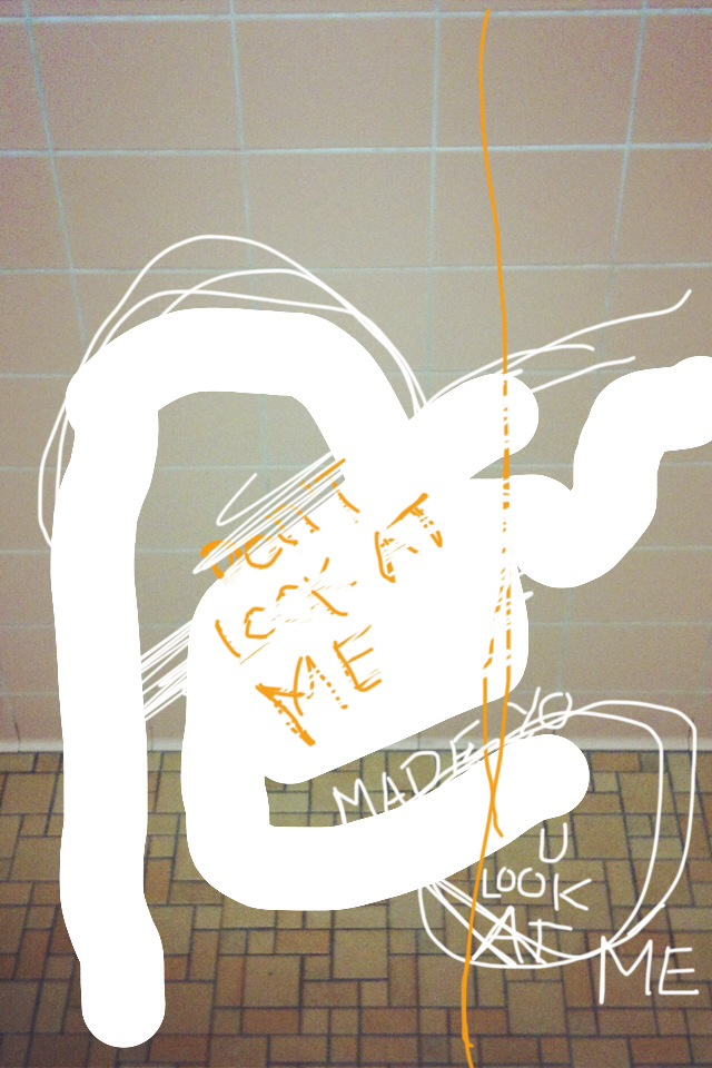 """""""Made U Look at Me"""" by Courtney Stubbert, digital photography, iPhone drawing, text, 2014"""