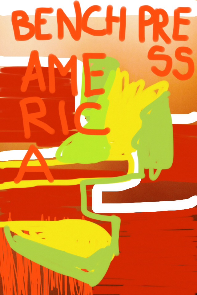 """""""Bench Press America"""" by Courtney Stubbert, color field photography, iPhone drawing, text, 2014."""