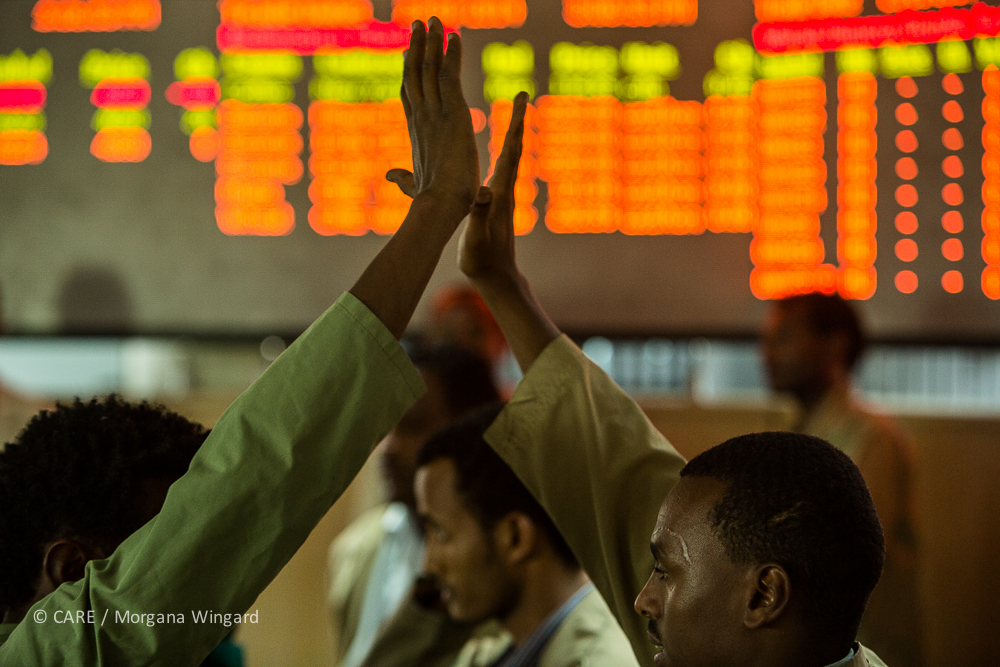 Addis Ababa, Ethiopia - Jan 23, 2014:  Operating during regular business hours, the ECX trading floor holds various sessions for transacting different commodity contracts. Trades are made in the pits by bidding or offering a price and quantity of contracts, depending on the intention to buy (bid) or sell (offer).