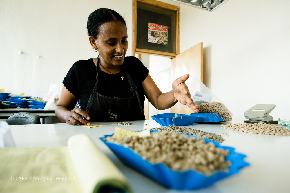 Awassa, Ethiopia - Jan 22, 2014:   Commodities are deposited in warehouses operated by ECX in major regions of the country. At the ECX warehouse, commodities are sampled, weighed and graded using state-of-the-art technology grading and weighing equipment.