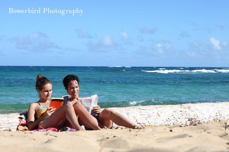 Reading on the beach.© Bowerbird Photography 2012; Travel Photography Kauai, Hawaii.