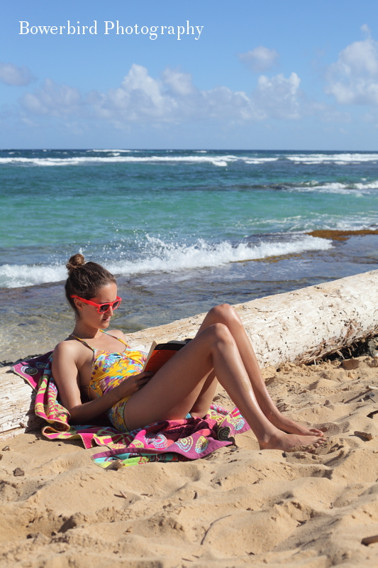 Ariel read a book that was narrated by a dog. Ya, it was a total beach book.© Bowerbird Photography 2012; Travel Photography Kauai, Hawaii.