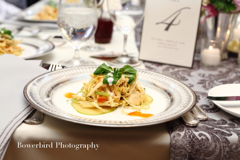 To start, smoked sturgeon salad with almonds, apples, and endives, and topped with crème fraîche. Yum! Catering by Le Papillon. © Bowerbird Photography 2012; Wedding Photography at Fogarty Vineyards, Woodside.