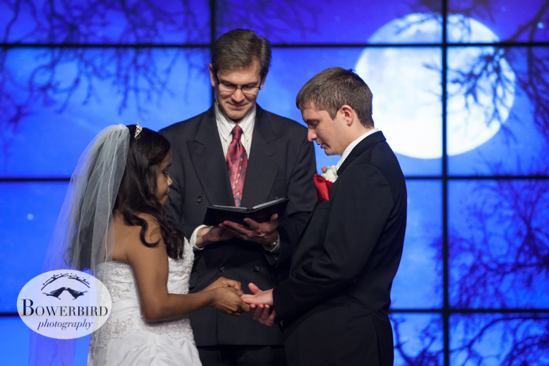 During the exchange of the rings, Andrew gets choked up in this heartfelt ceremony.© Bowerbird Photography 2012; Wedding Photography in Dublin, CA.