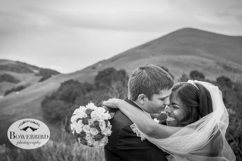 The bride and groom share a moment together and smile with joy. They're married! © Bowerbird Photography 2012; Wedding Photography in Dublin, CA.