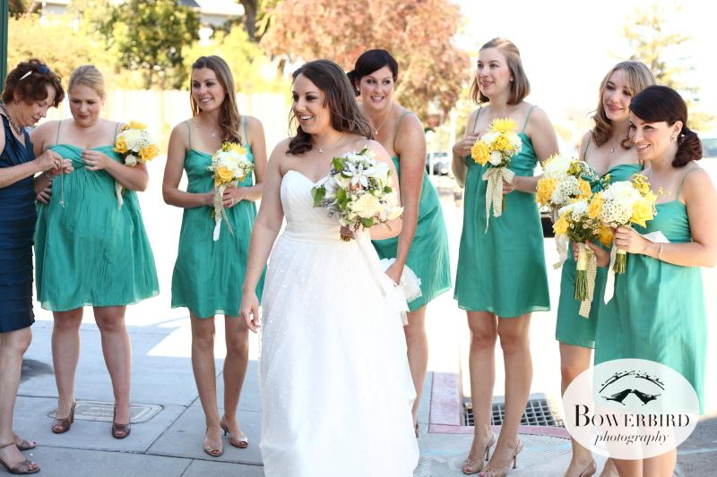The bride arrives at the theater with her entourage of ladies in teal. © Bowerbird Photography 2012; Wedding Photography at Larkspur, Marin.