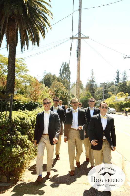The groom and his gentswalk to the theater.© Bowerbird Photography 2012; Wedding Photography at Larkspur, Marin.