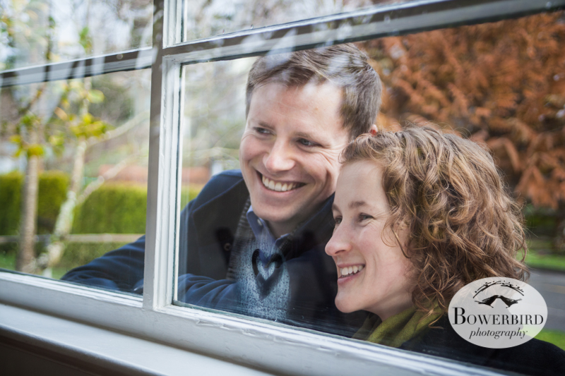 Peeking in the window of their new beautiful home! © Bowerbird Photography 2012; Couple's Photography in Seattle.
