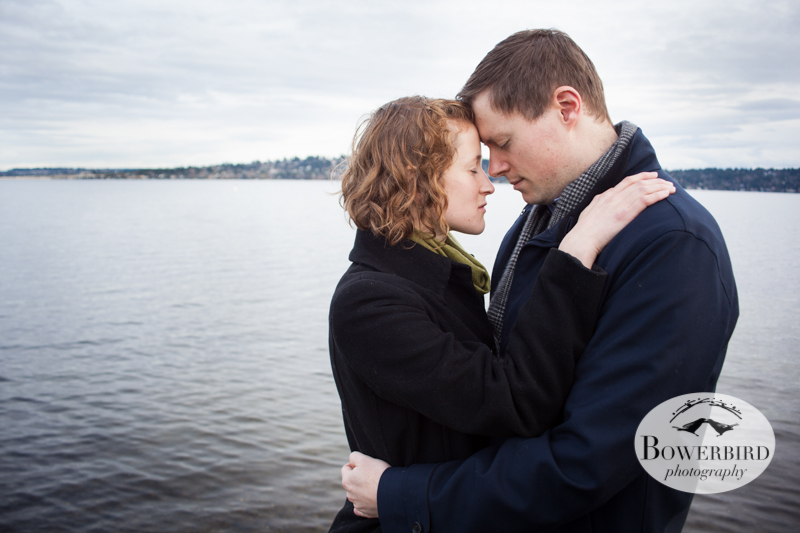 A tender moment by Lake Washington. © Bowerbird Photography 2012; Couple's Photography in Seattle.
