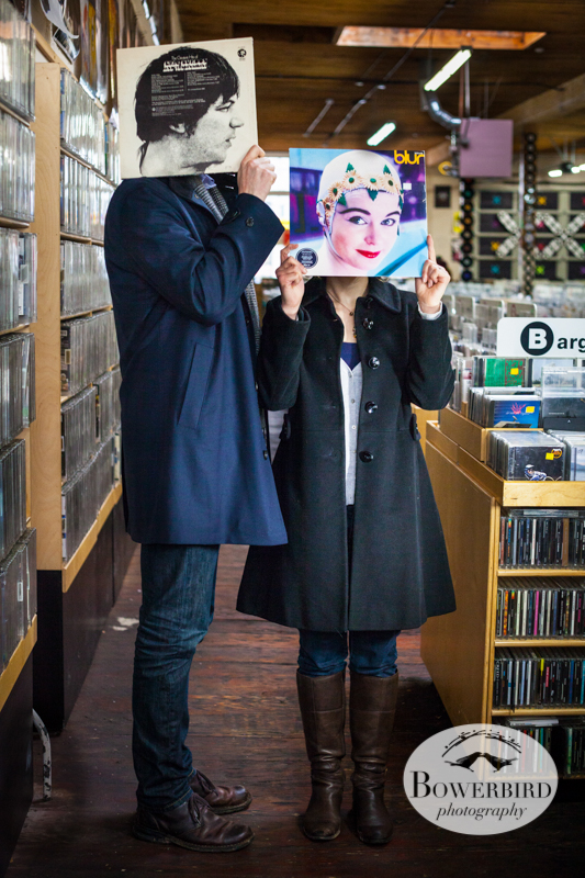 Music shop fun. © Bowerbird Photography 2012; Couple's Photography in Seattle.