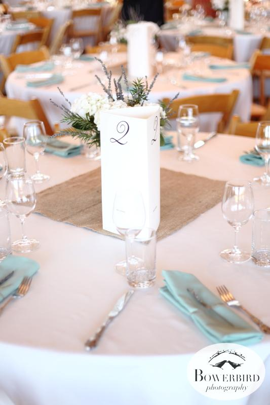 The beautiful table settings. © Bowerbird Photography 2013;Mill Valley Community Center Wedding, Mill Valley.
