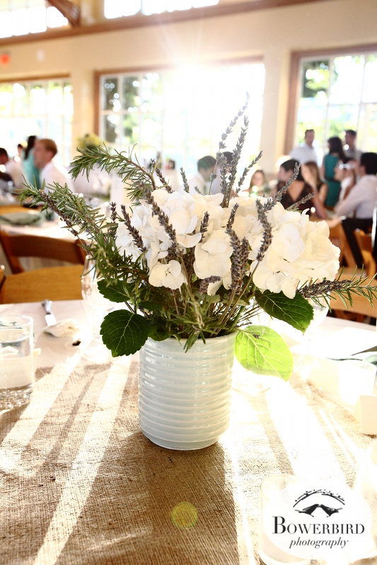 The wonderful flower centerpieces.©Bowerbird Photography 2013;Mill Valley Community Center Wedding, Mill Valley.