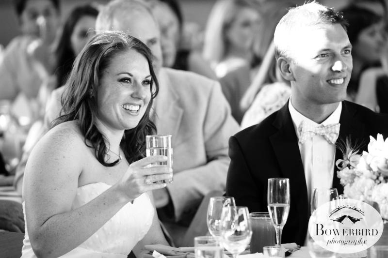 The bride and groom listening to toasts.©Bowerbird Photography 2013;Mill Valley Community Center Wedding, Mill Valley.