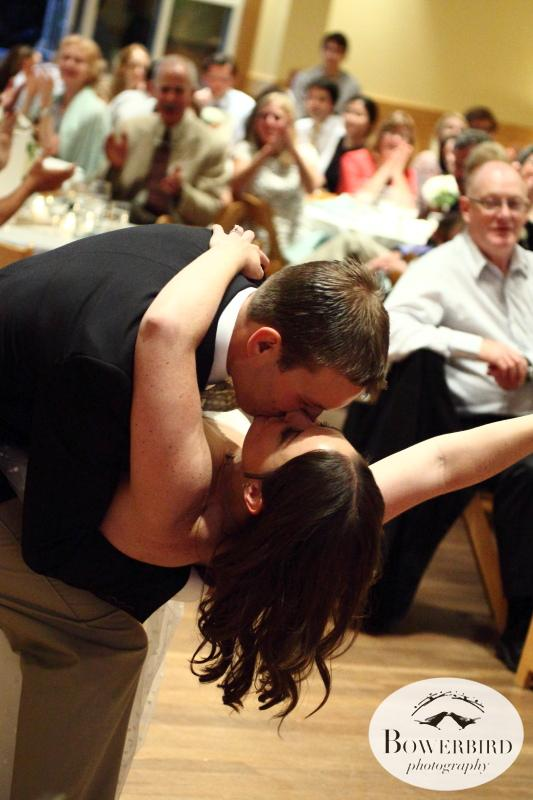 A dip + kiss! © Bowerbird Photography 2013;Mill Valley Community Center Wedding, Mill Valley.