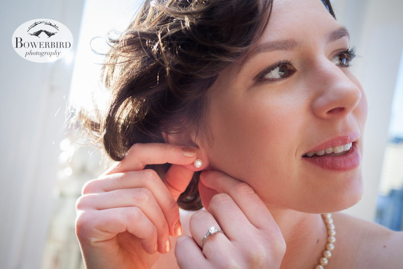 The bride, in her wedding pearls. © Bowerbird Photography 2013; Mark Hopkins Hotel, San Francisco.