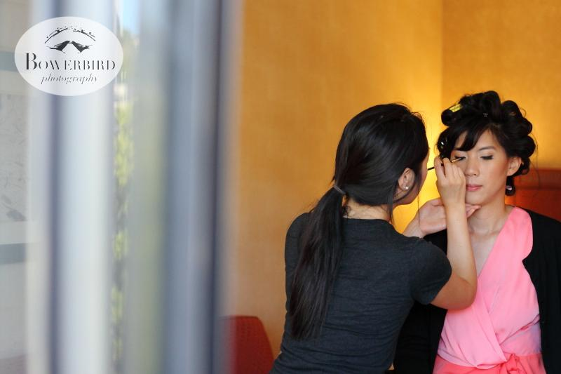 The bride getting her makeup done. ©Bowerbird Photography 2013; St. Ignatius Church Wedding, San Francisco.