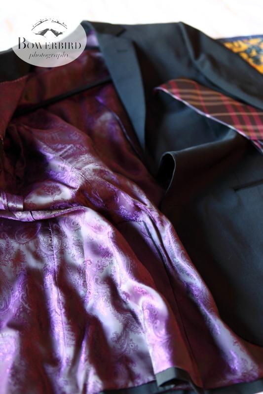The groom's luxe silk wedding suit. ©Bowerbird Photography 2013; St. Ignatius Church Wedding, San Francisco.
