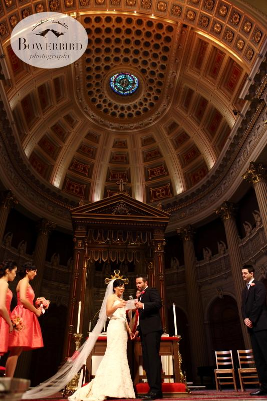 The bride and groom reading a poem together. ©Bowerbird Photography 2013; St. Ignatius Church Wedding, San Francisco.