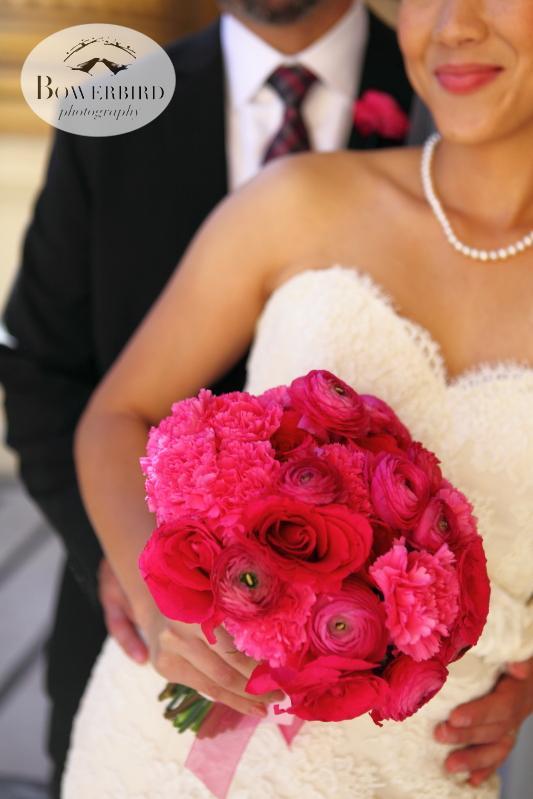 The bride's lovely pink flowers. ©Bowerbird Photography 2013; St. Ignatius Church Wedding, San Francisco.