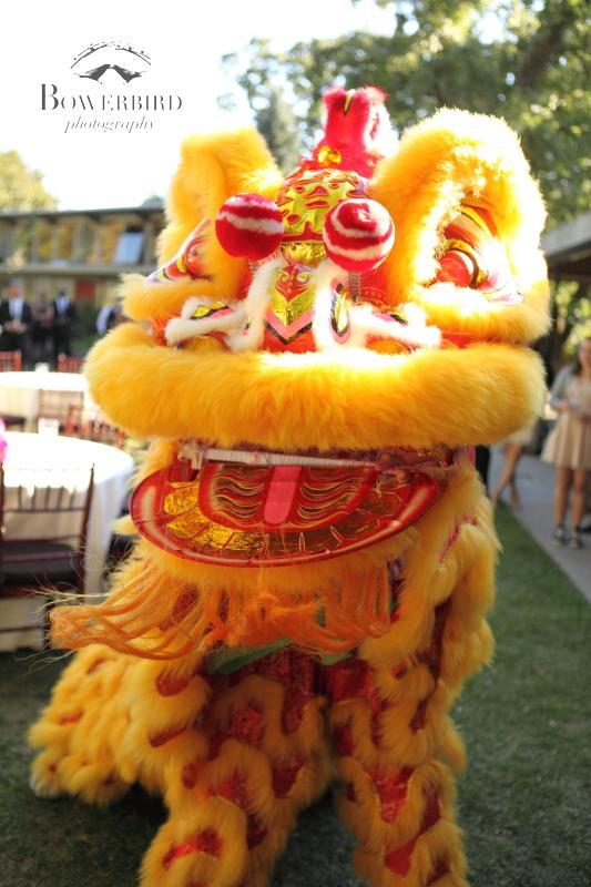 Chinese lion dancers. ©Bowerbird Photography 2013; Marin Art and Garden Center Wedding, Ross, CA.