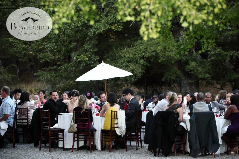 Lovely outdoor seating for the wedding dinner. ©Bowerbird Photography 2013; Marin Art and Garden Center Wedding, Ross, CA.