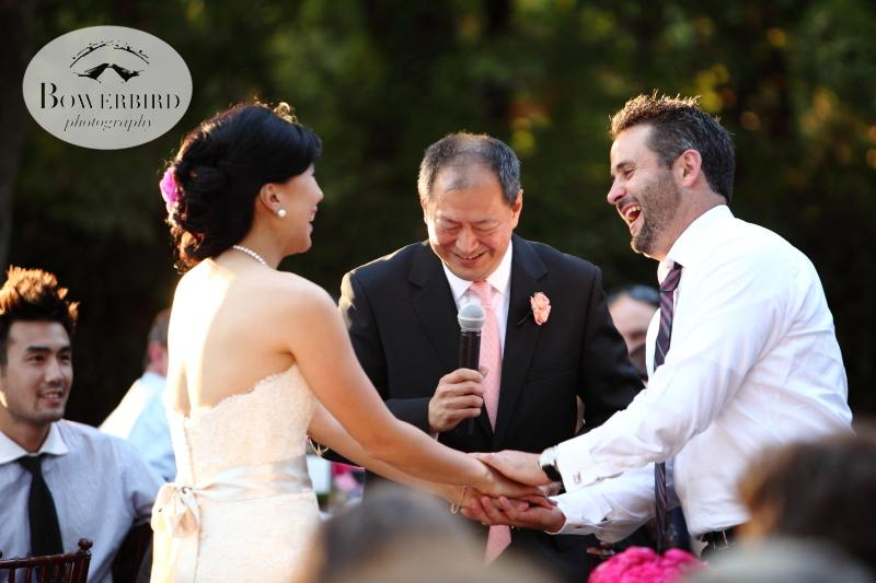 The brides father giving a touching toast. ©Bowerbird Photography 2013; Marin Art and Garden Center Wedding, Ross, CA.