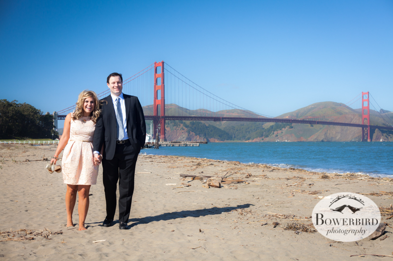 Engagement photos with the Golden Gate Bridge -- classic! © Bowerbird Photography 2013; Engagement Photography at Crissy Field, San Francisco.